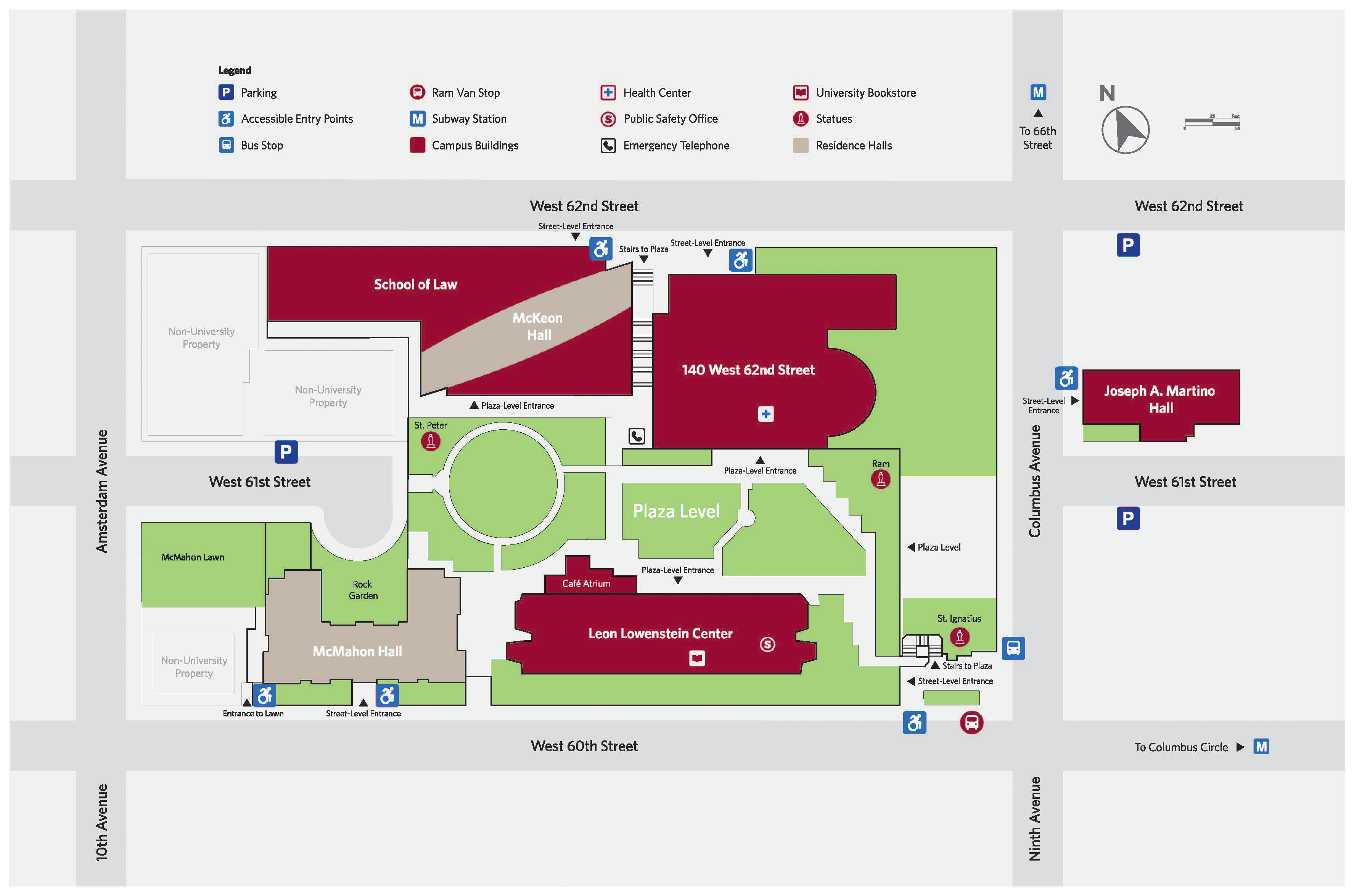 Map of Fordham's Lincoln Center campus consisting of the buildings McMahon Hall, Leon Lowenstein Center, Joseph A. Martino Hall, 140 West 62nd Street, McKeon Hall, and the School of Law. Outdoor locations include McMahon Lawn, the Rock Garden, and Leon Lowenstein Plaza. Indication of Parking, Accessible Entry Points, Bus Stop, Ram Van Stop, Subway Stations, Campus Buildings, Health Center, Public Safety Office, Emergency Telephone, University Bookstore, Statues, and Residence Halls.