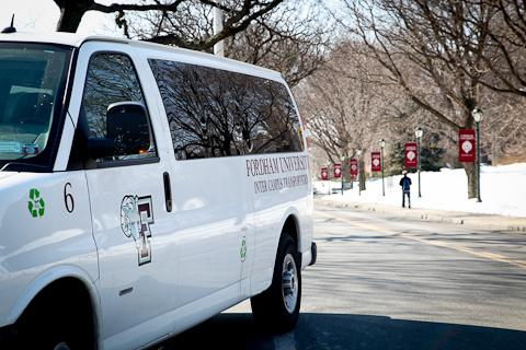 A Ram Van departs Rose Hill Campus